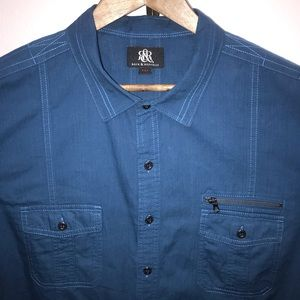 Rock & Republic Blue XXL short sleeve zip pocket